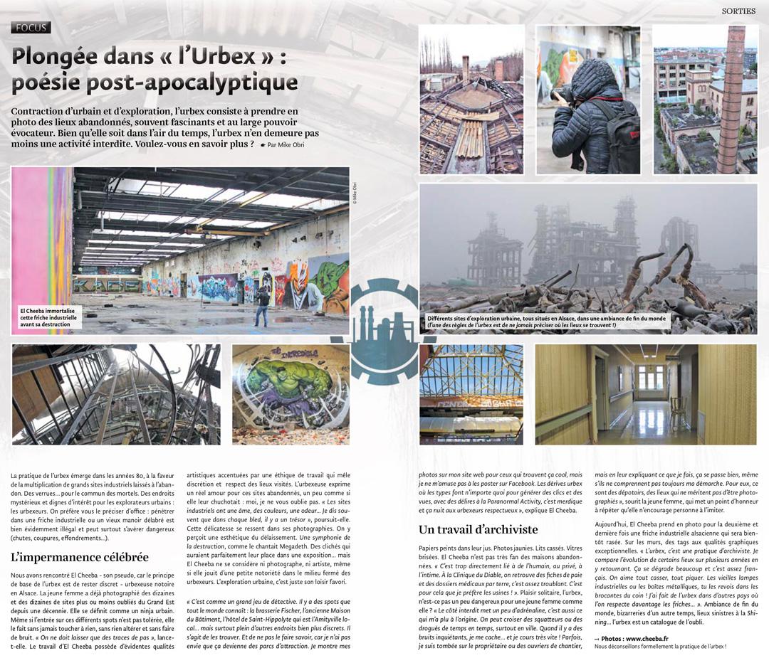 Interview urbex El Cheeba pour le JDS - Octobre 2019 - Urbex Alsace